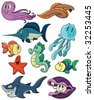 Cute cartoon sea creatures. All on different layers for easy editing. - stock vector