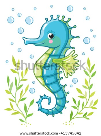 Cute cartoon Sea horse isolated. Seahorse and algae on a white background, vector illustration. - stock vector