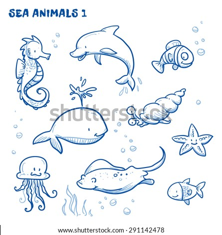 Cute Cartoon Sea Water Animals Whale Stock Vector (Royalty ...