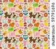 cute cartoon seamless pattern,vector illustration - stock vector