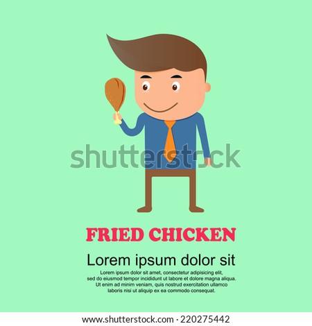 Cute cartoon set,man and fried chicken - stock vector