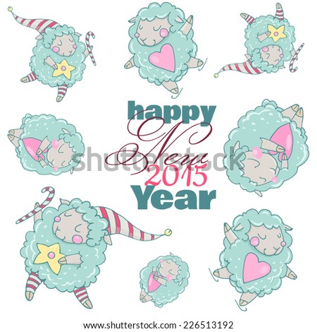 Cute cartoon sheep in vector. Pattern. Cute New Year`s sheep. Dreamy sheep with a heart, dreamy sheep with a star and dreamy sheep skating. Children's picture in pastel colors. - stock vector