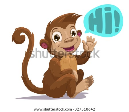 Cute cartoon sitting monkey saying Hi, vector illustration, isolated on white - stock vector