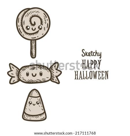 Cute Cartoon Sketch Happy Halloween Candy Stock Vector 217111768 ...