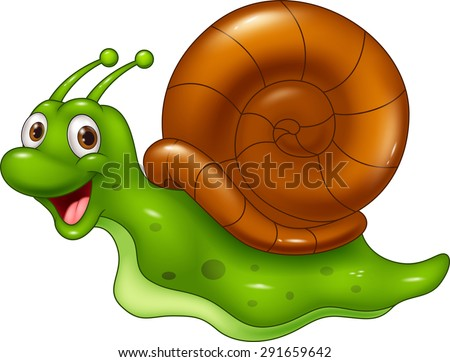 Cute cartoon snail on white background - stock vector