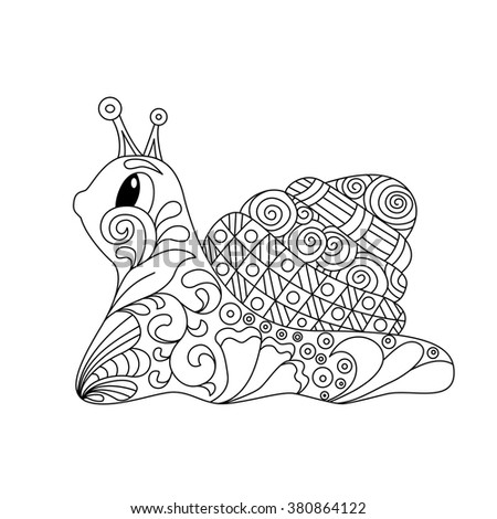 Cute cartoon snail with ornament. Background, cover. Design for coloring page