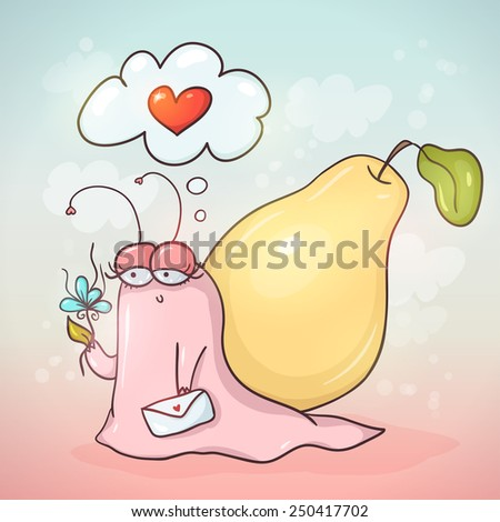 Cute cartoon snail with pear on her back