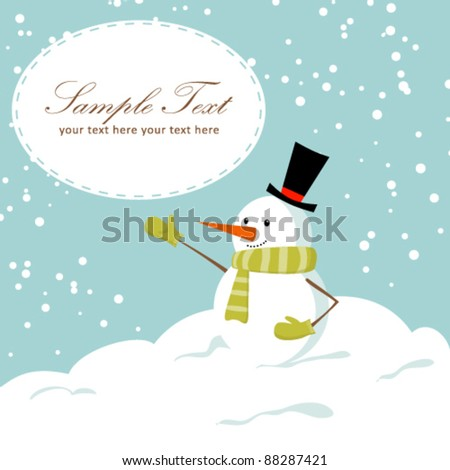 Cute cartoon snowman smiling on snow winter Christmas background card - stock vector