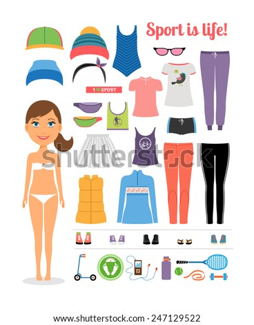 Cute Cartoon Sporty Girl with Assorted Fitness Clothing and Equipment  Emphasizing Sport is Life Concept. Isolated on White - stock vector