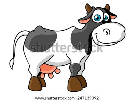 Cute cartoon spotted cow character with cheerful smile, little horns and big blue eyes for agriculture or farming design - stock vector