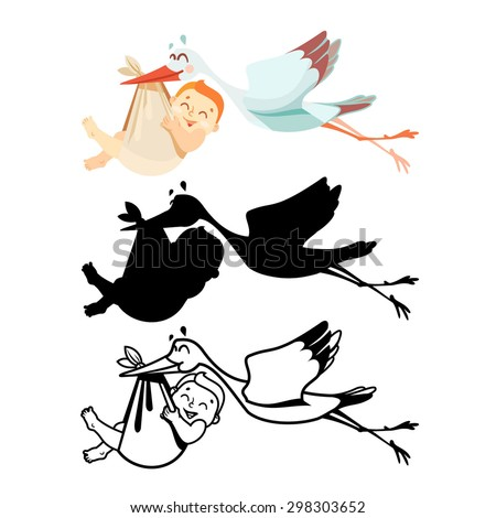 Cute cartoon stork with baby in various positions. Full-color, black-and-white and black silhouette isolated on white. Design element for logo design, baby shower design, sign-symbol. Vector  - stock vector