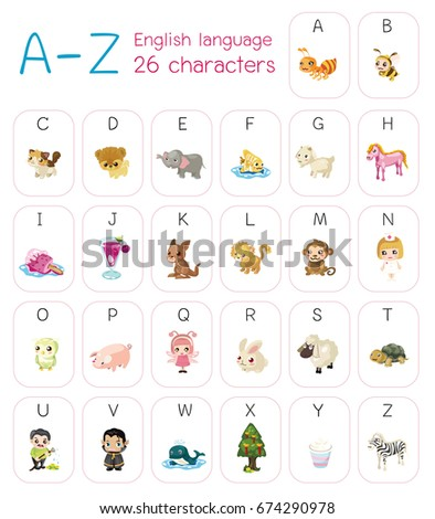 Cute Cartoon Styles Character A Z Capitalize Alphabet English Language Vector
