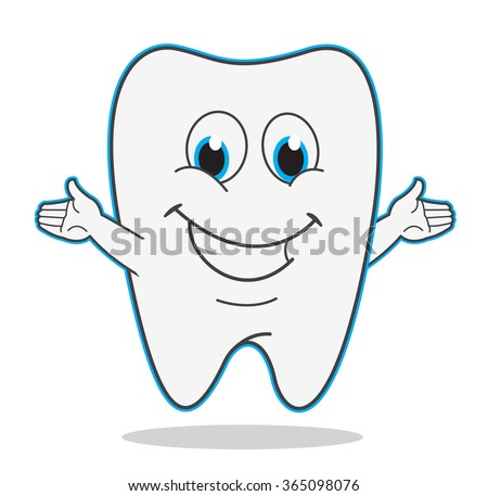 Cute cartoon teeth smile vector illustration dentist symbol - stock vector