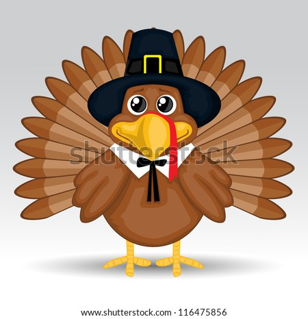 Cute cartoon Thanksgiving turkey - stock vector