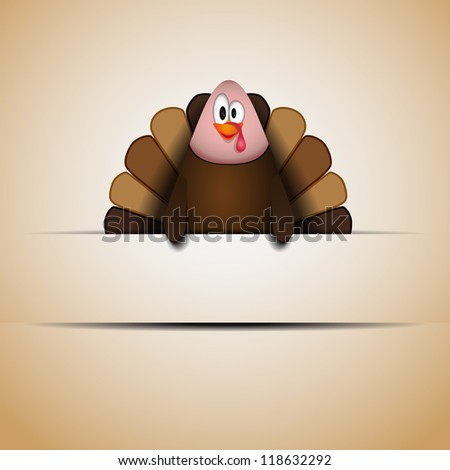 Cute cartoon Thanksgiving turkey - vector with place for sign - stock vector
