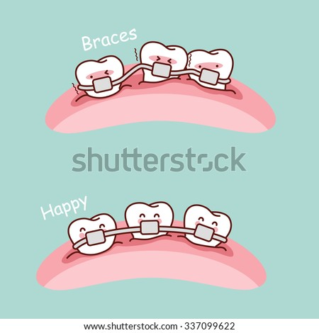 cute cartoon tooth braces, great for health dental care concept - stock vector