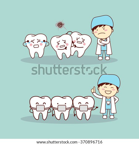 cute cartoon tooth braces with dentist doctor, great for health dental care concept - stock vector