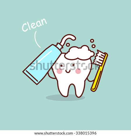 cute cartoon tooth brush and clean, great for health dental care concept - stock vector