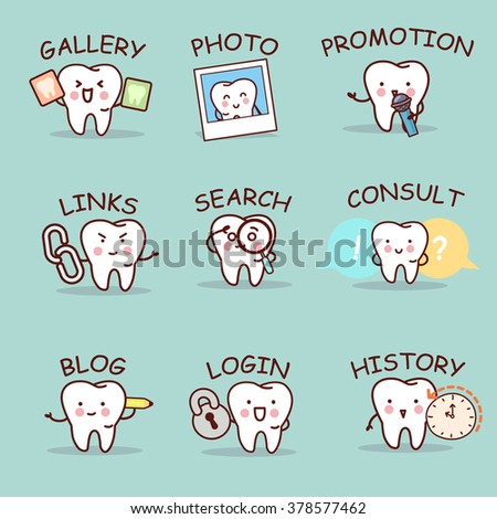 cute cartoon tooth set with web design text and word, great for your website design - stock vector