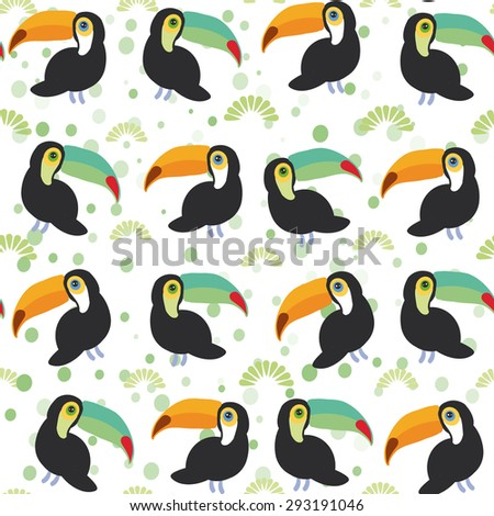 Cute Cartoon toucan birds set on white background, seamless pattern. Vector
