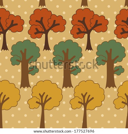 Cute cartoon tree seamless pattern on dots background
