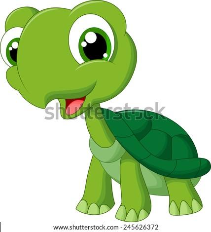 Cute cartoon turtle - stock vector