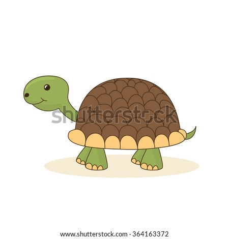 Cute cartoon turtle isolated on white background. Vector illustration - stock vector