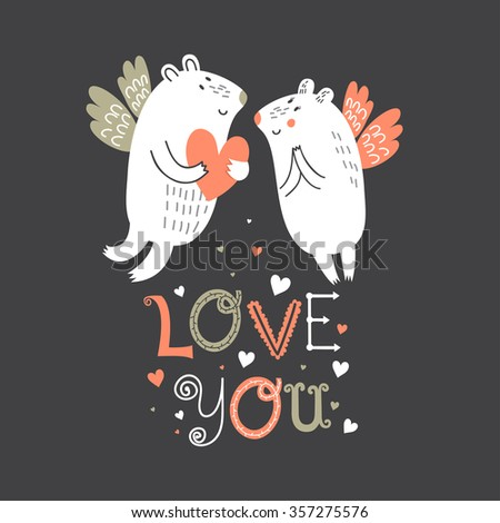 Cute cartoon Valentine's Day greeting card with two funny polar bear in love. Vector illustration.  - stock vector