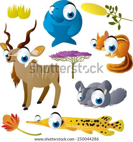 Cute cartoon vector big eyes animal set : dugong, kudu, chipmunk, chinchilla, gar - stock vector