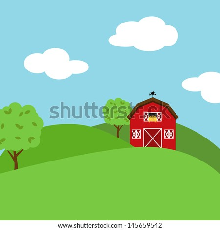 Cute Cartoon Vector Farm Landscape - stock vector