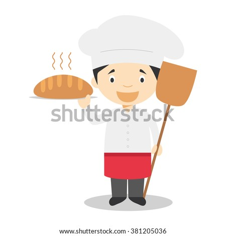 Cute cartoon vector illustration of a baker - stock vector