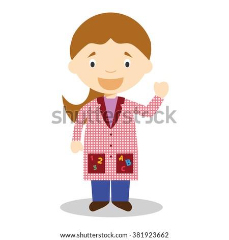 Cute cartoon vector illustration of a female teacher - stock vector