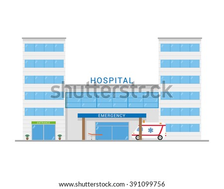 Cute cartoon vector illustration of a hospital with ambulance