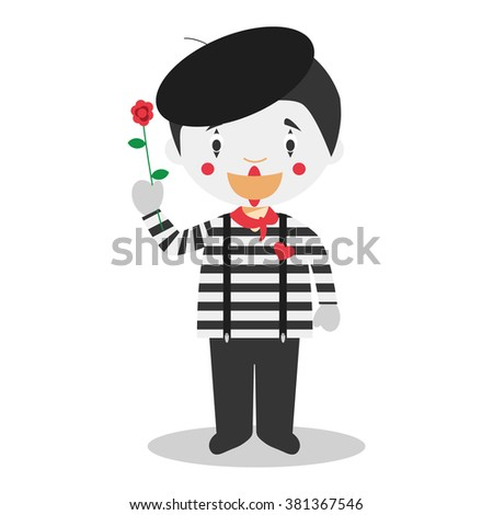 Cute cartoon vector illustration of a mime - stock vector