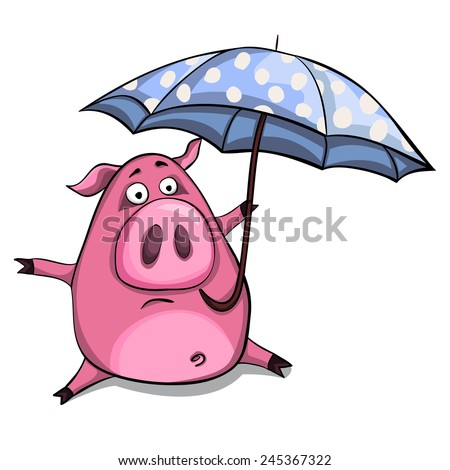 Cute cartoon vector pig with blue umbrella
