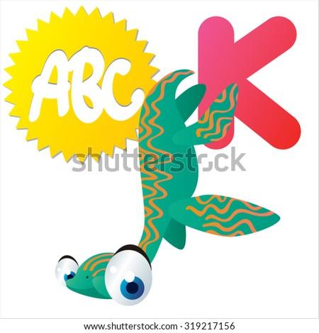 Cute cartoon Water Dinosaurs ABC: K is for Kaiwhekea - stock vector