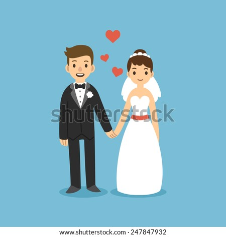 cute cartoon wedding couple holding hands