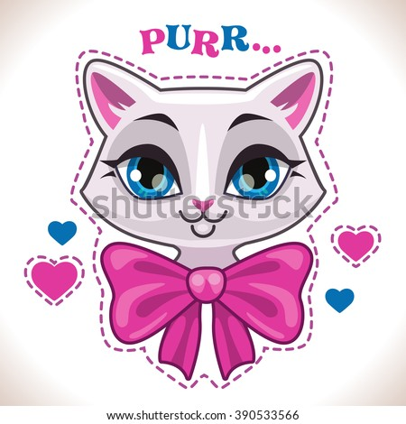Cute cartoon white cat girl face with big pink bow, fashion girlish vector illustration for t shirt print design - stock vector