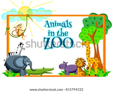 cute cartoon wild Africa animals in flat style in the ZOO. Giraffe, elephant,zebra, monkey, lion, crocodile, hippo  isolated on white background with place for text. Vector illustration - stock vector