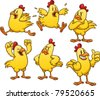 Cute cartoon yellow chicken. Vector illustration with simple gradients. All in separate layers for easy editing. - stock vector
