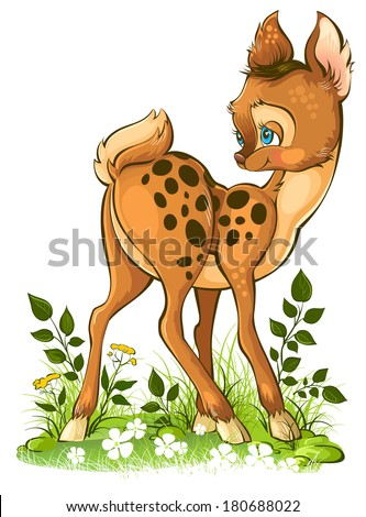 Cute cartoon young deer isolated on white. Vector illustration. Also available raster and outlined version - stock vector