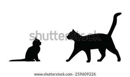 Cute cat and kitten - stock vector