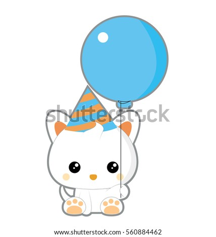 cute cat birthday with balloon
