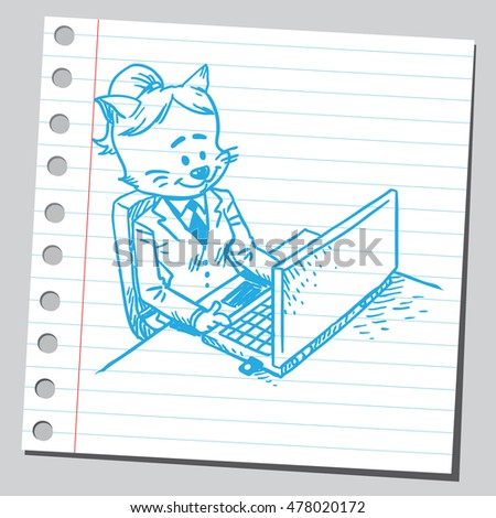 Cute cat businesswoman working on computer