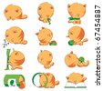 cute cat different positions - stock vector