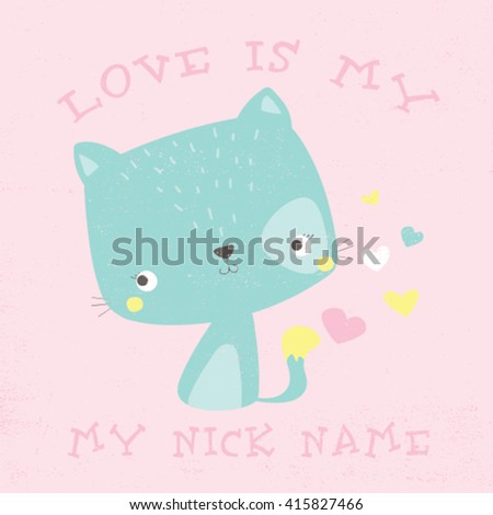cute cat drawn for baby tee print