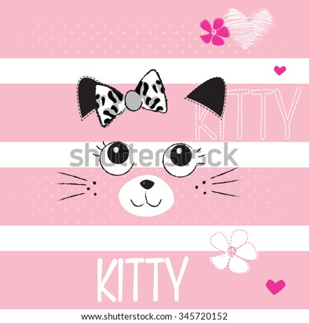 cute cat face on striped background, T-shirt design vector illustration - stock vector