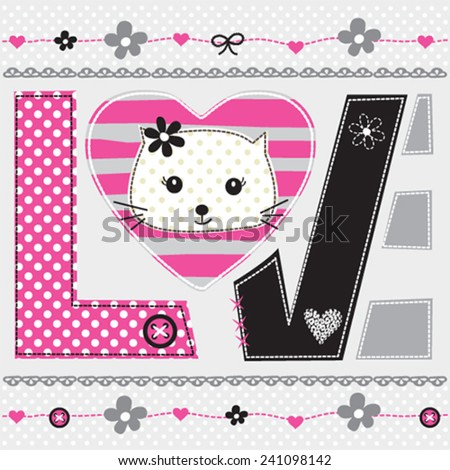 cute cat head love card vector illustration - stock vector