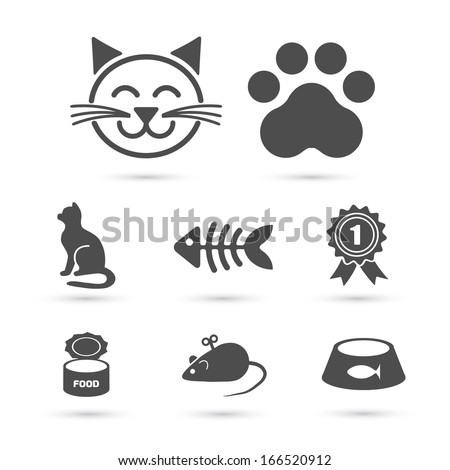Cute cat icon symbol set on white. Vector element - stock vector