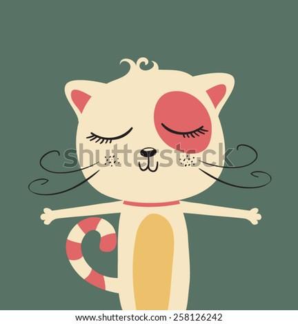 cute cat illustration  - stock vector